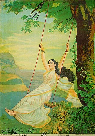 Raja Ravi Verma Lithograph: Mohini on Swing